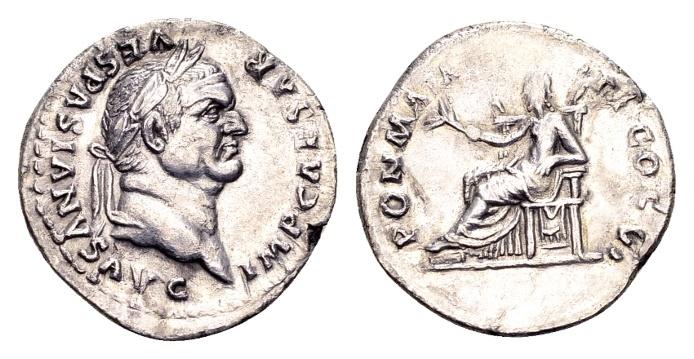 Ancient Coins - Vespasian AD 69-79, AR Denarius (19mm, 2.72 g) Rome AD 75
