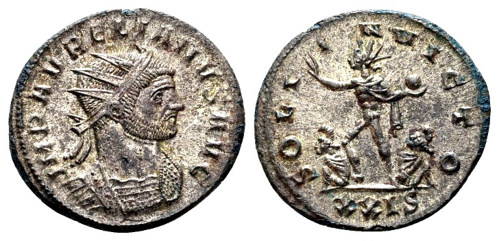Ancient Coins - Aurelian AD 270-275, AE silvered Antoninianus (23mm, 3.85g) Serdica