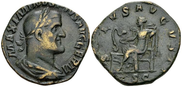 Ancient Coins - Maximinus I AD 235-238, AE Sestertius (30mm, 20.68 g) Rome