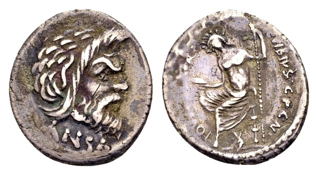 Ancient Coins - Roman Republic. C. Vibius Pansa, AR Denarius (19mm, 3.52g) Rome mint 48 BC