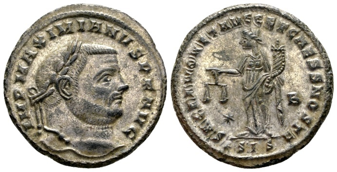 Ancient Coins - Maximian AD 286-310, AE silvered Follis (28mm, 9.39 gram) Siscia c. AD 302