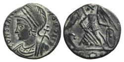 Ancient Coins - CONSTANTINOPOLIS (Commemorative Series). Follis. 333-335 AD. Rome mint (R-Crown-E) Victory on prow.