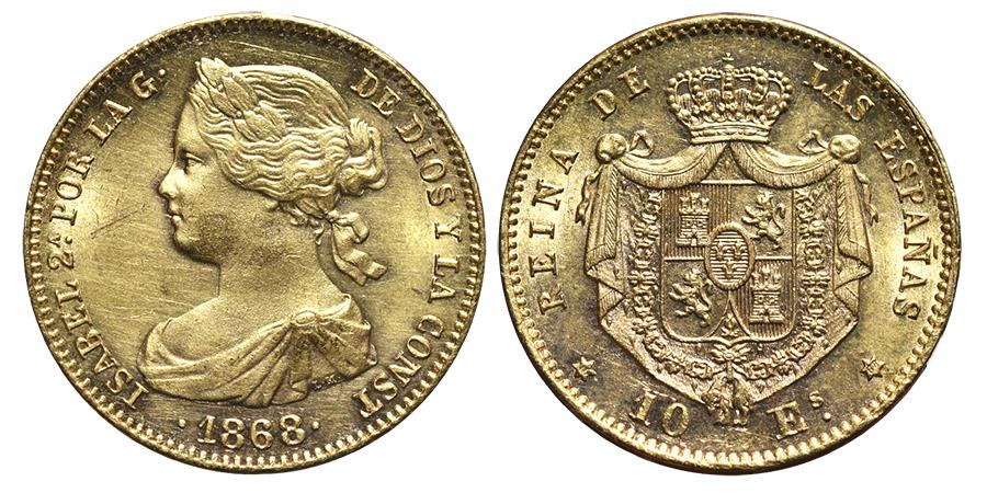 World Coins - ISABEL II. 10 Escudos. 1868. Madrid mint. Gold (Au) SPAIN.