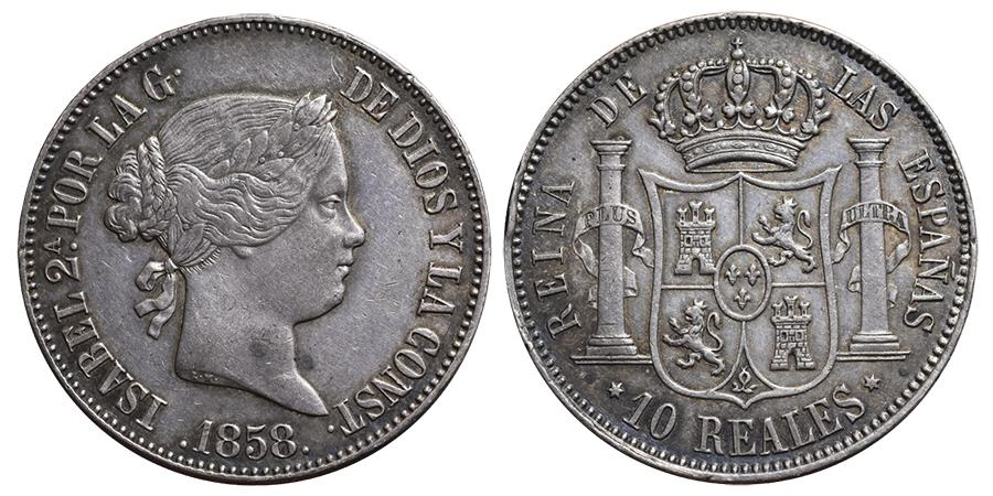 World Coins - ISABEL II. 10 Reales. 1858. Madrid mint. Cal-227. Silver (Ar) SPAIN.