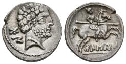 Ancient Coins - BOLSCAN-OSCA. Ar, Denarius. Circa 150-100 BC. Spain (Huesca). Rider with spear on prancing horse right; 'BoLSCan' in Iberian characters below.