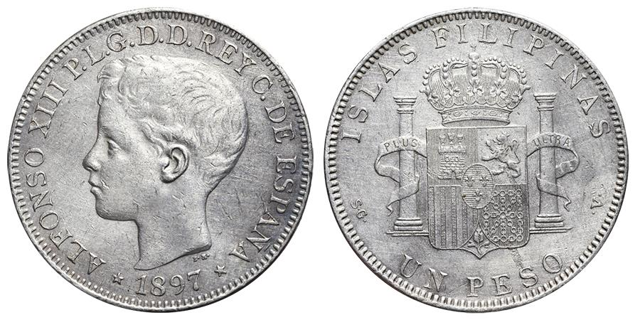 World Coins - ALFONSO XIII. Ar, 1 Peso. 1897. Manila mint (Philippines). SPANISH COLONIAL.
