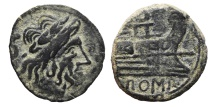 Ancient Coins - ROMAN REPUBLIC, Anonymous. AE, Semis. 211 - 207 BC. Hispania mint. Saturn / Prow rigth.