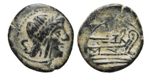 Ancient Coins - ROMAN REPUBLIC, Anonymous. AE, Semis. 211 - 207 BC. Rome mint. Saturn / Prow rigth.