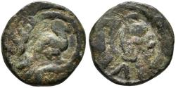 World Coins - UMAYYAD CALIPHATE. Ae, Fals. AH 79-132. Palestine. Duck to rigth. RARE.