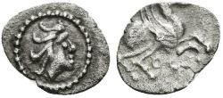 Ancient Coins - EMPORITON. Ar Hemitritartemorion. 450-400 BC. Sant Martí de Ampurias (Gerona). Pegasus flying right.