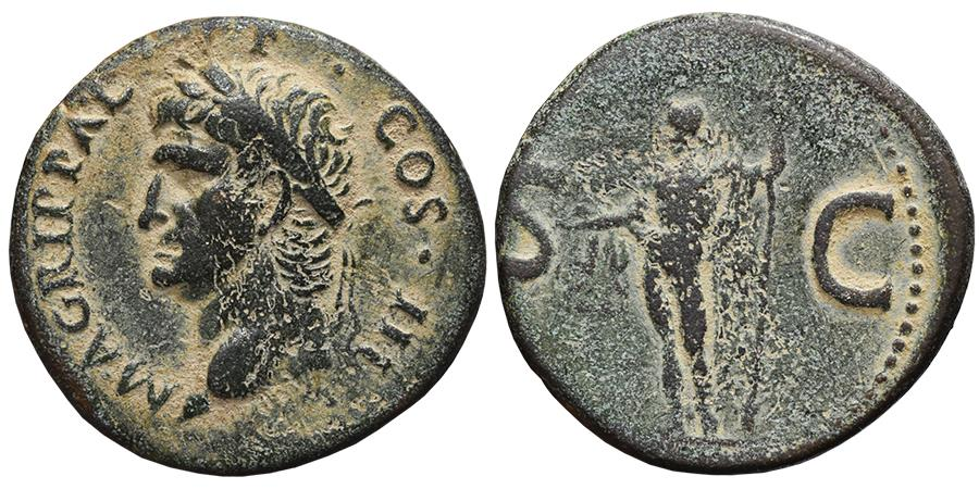 Ancient Coins - AGRIPPA (Posthumous, struck by Caligula). AE, As. 37-41 AD. Rome mint. Neptune, S-C.
