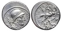 Ancient Coins - P. FONTEIUS P.F. CAPITO. AG, Denarius. 55 BC. Rome mint. Warrior galloped against Gallic enemy.