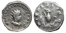Ancient Coins - VALERIAN II (Small bust). Antoninianus. 256-258 AD. Viminacium mint. Priestly implements, PIETAS AVGG. RARE.