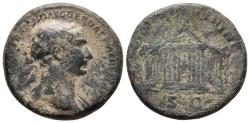 Ancient Coins - TRAJAN. As. 107-108 AD. Rome. S P Q R OPTIMO PRINCIPI. Temple. Very rare.