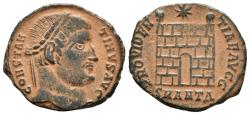 Ancient Coins - CONSTANTINE I. Ae, Follis. 327-328 AD. Antiochia, SMANTA. PROVIDEN-TIA AVGG Campgate with two turrets; above, star.