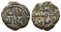 World Coins - UMAYYAD CALIPHATE. Uncertain period (post-reform). Ae, Fals. AH 77-132. Dimashq (Damascus) mint. RARE.