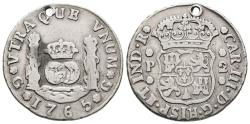 World Coins - CARLOS III. Ar, 2 Reales. 1765. Guatemala P mint. Very rare. SPANISH COLONIAL.