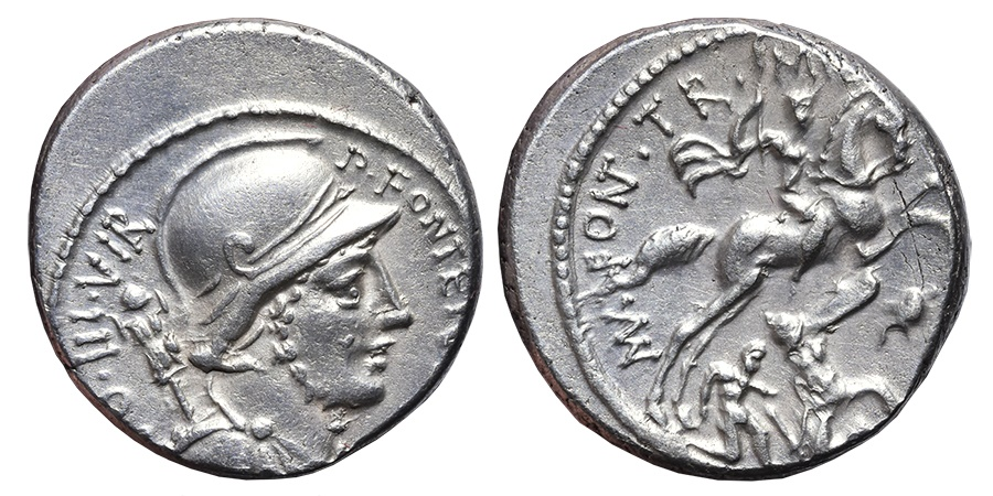 Ancient Coins - P. FONTEIUS P.F. CAPITO. AG, Denarius. 55 BC. Rome mint. Warrior galloped against Gallic enemy.