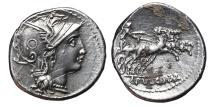 Ancient Coins - C. CLAUDIUS PULCHER. AG, Denarius. 110 BC. Rome mint. Victory in biga.
