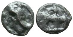 Ancient Coins - LEUCI. (Lothrigen) Northeastern Gaul. Ae, Potin. Circa 100-50 BC. Bull butting right; 'fleur de lis' above.