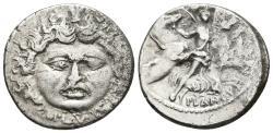 Ancient Coins - L. PLAUTIUS PLANCUS. Ar, Denarius. 47 BC. Rome mint. Head of Medusa / Aurora flying right, conducting the four horses of the sun and holding palm.