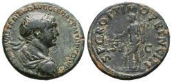 Ancient Coins - TRAJAN. Ae, As. AD 103-111. Rome. S P Q R OPTIMO PRINCIPI, Aequitas standing left, holding scales and cornucopiae