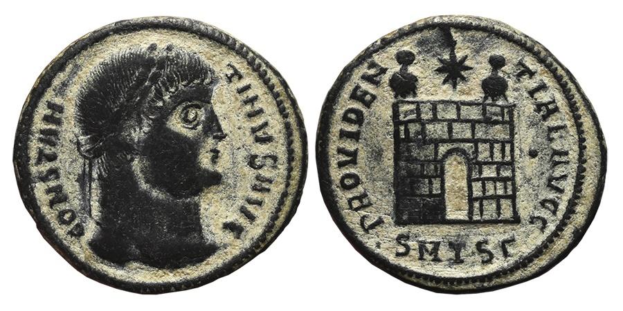 Ancient Coins - CONSTANTINE I. Æ, Follis. 326-328 AD Thessalonica mint SMTSΓ.  Campgate PROVIDENTIAE AVGG .