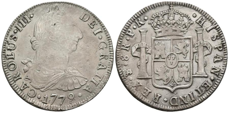 World Coins - CARLOS III. Ar, 8 Reales. 1779. Potosí PR (Bolivia). Assayer letter P rectified. SPANISH COLONAL. Cal-980 var.