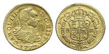 World Coins - CARLOS III. Gold, 1/2 Escudo. 1773 (Number 3 on 2). Madrid P.J. SPAIN.