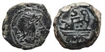 Ancient Coins - ROMAN REPUBLIC, Anonymous. AE, Semis. 211 - 207 BC. Hispania mint. OMA Prow Left. Rare.