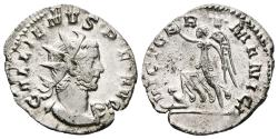 Ancient Coins - GALLIENUS. Ar Antoninianus. AD 258-259. Colonia Agrippinensis. VICT GERMANICA, Victory advancing left, holding wreath and trophy, trampling bound captive seated to left.