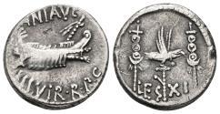 Ancient Coins - MARK ANTONY. Legionary Denarius LEG XI. Autumn 32 - spring 31 BC. Military mint moving with Antony, Patrae? mint.