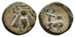 Ancient Coins - IONIA, Ephesos. Ae10. 390-300 BC. Morimos, magistrate. Bee / Stag reclining left, astragalos above.