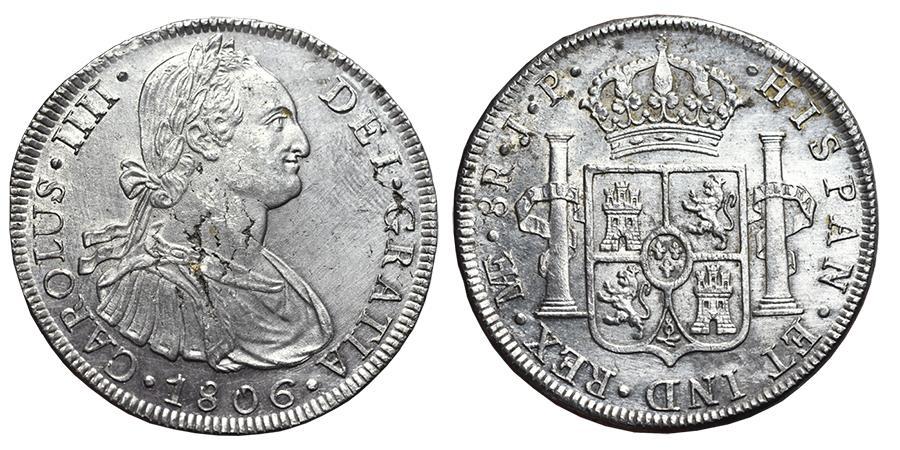 World Coins - CARLOS IV. Ar, 8 Reales. 1806. Lima J.P. mint (Perú). SPANISH COLONIAL.