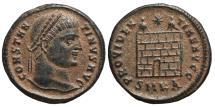 Ancient Coins - CONSTANTINE I. Æ, Follis. 324-325 AD Cyzicus mint SMKA. Campgate PROVIDENTIAE AVGG .