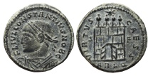 Ancient Coins - CONSTANTINE II. Ae, Follis. 327 AD. Arles mint. VIRTVS CAESS, Open doors.