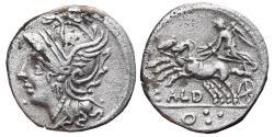 Ancient Coins - C. COELIUS CALDUS. AR, Denarius. 104 BC. Rome mint. Victory in biga, CALD / O three dots.