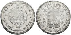 World Coins - BRAZIL. Johannes, Prince Regent. Ar, 960 Reis. 1816. Bahia. Stamped on a Spanish 8 Reales Carolus IV - 1800.