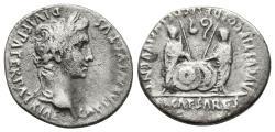 Ancient Coins - AUGUSTUS. AR, Denarius. 7-6 BC. Lugdunum mint. Caius and Lucius Caesares. AVGVSTI F COS DESIG PRINC IVVENT.