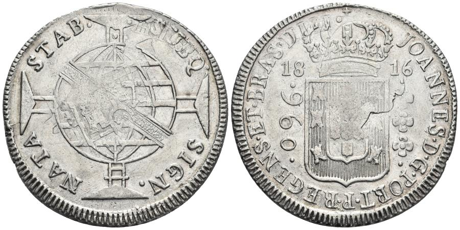 World Coins - BRAZIL. Johannes, Prince Regent. Ar, 960 Reis. 1816. Bahia. Stamped on a Spanish 8 Reales Carolus IV - 1800.