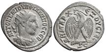 Ancient Coins - PHILIP I. AR, Tetradrachm. 244 AD. Antioch mint. Eagle with spread wings, ΔHMAPX - EΞOVCIAC.