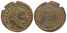 Ancient Coins - MAXIMIANUS, (2nd reign). Æ, Follis. 308-310 AD. Aquileia mint. Temple. EX. DATTARI COLLECTION.