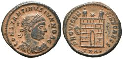 Ancient Coins - CONSTATINE II. Ae, Follis. AD 324-325. Arles mint. PROVIDEN-TIAE CAESS, camp-gate with no doors and two turrets, star above; T*AR.