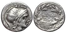 Ancient Coins - Q. LUTATIUS CERCO. AG, Denarius. 109-108 BC. South of Italy mint.