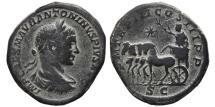 Ancient Coins - ELAGABALUS. AE, Sestertius. 220 AD. Rome mint. Emperor in quadriga. VERY RARE.