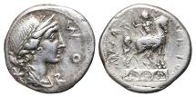 Ancient Coins - MN. AEMILIUS LEPIDUS. Denarius. 114-113 BC. Rome mint. Equestrian statue on aqueduct.