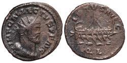 Ancient Coins - ALLECTUS. AE, Quinarius. 293-296 AD. Londinium mint (London). VIRTVS AVG, galley with mast.