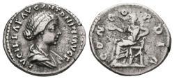 Ancient Coins - LUCILLA. AR, Denarius. AD 161-163. Rome. CONCORDIA, Concordia seated left, holding patera and resting her elbow on a statue of Spes; cornucopiae under seat.