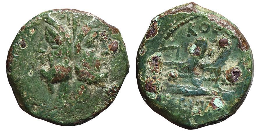 C  VIBIUS C F  PANSA  Æ, Semiuncial  90 BC  Rome mint  Three prows of  galleys right  ROMAN REPUBLIC