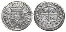 World Coins - PHILIPPUS V. AR, 2 Reales. 1725 Sevilla J mint. SPAIN.
